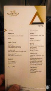Etihad - menu